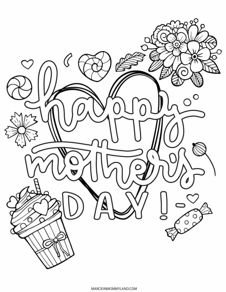 Happy Mother's Day coloring sheet.