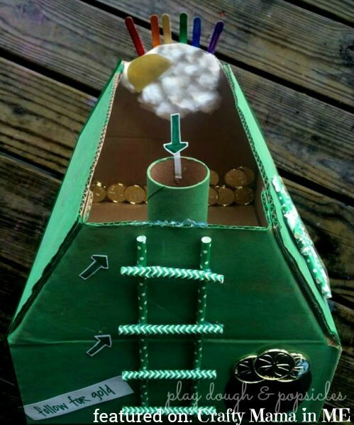 Creative leprechaun trap for kids using cardboard tubes, straws, and gold coins.