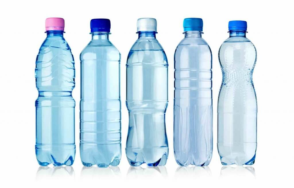 Did you know not all plastic bottles are recyclable? Find out a fun game to re-use plastic bottles. Image of 5 plastic water bottles lined up.
