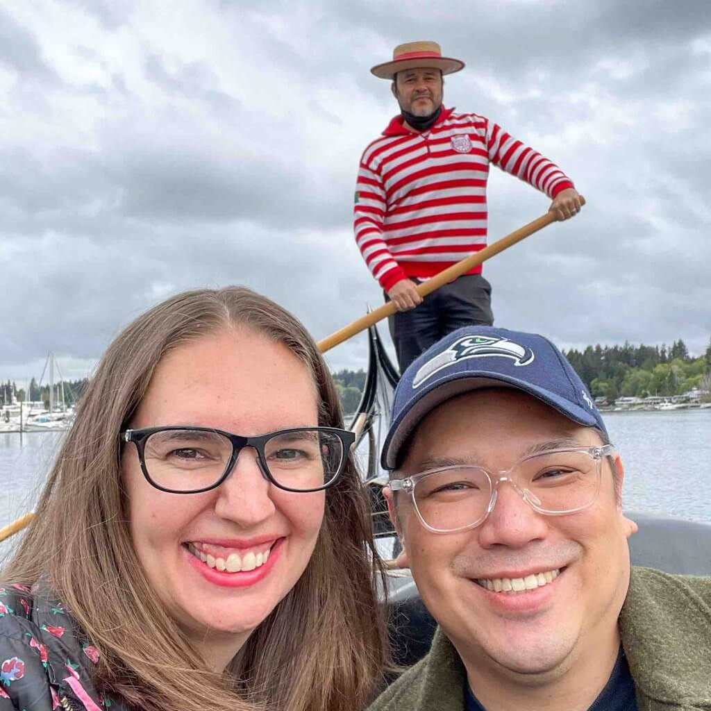 Image of a selfie with a man, woman, and gondolier.