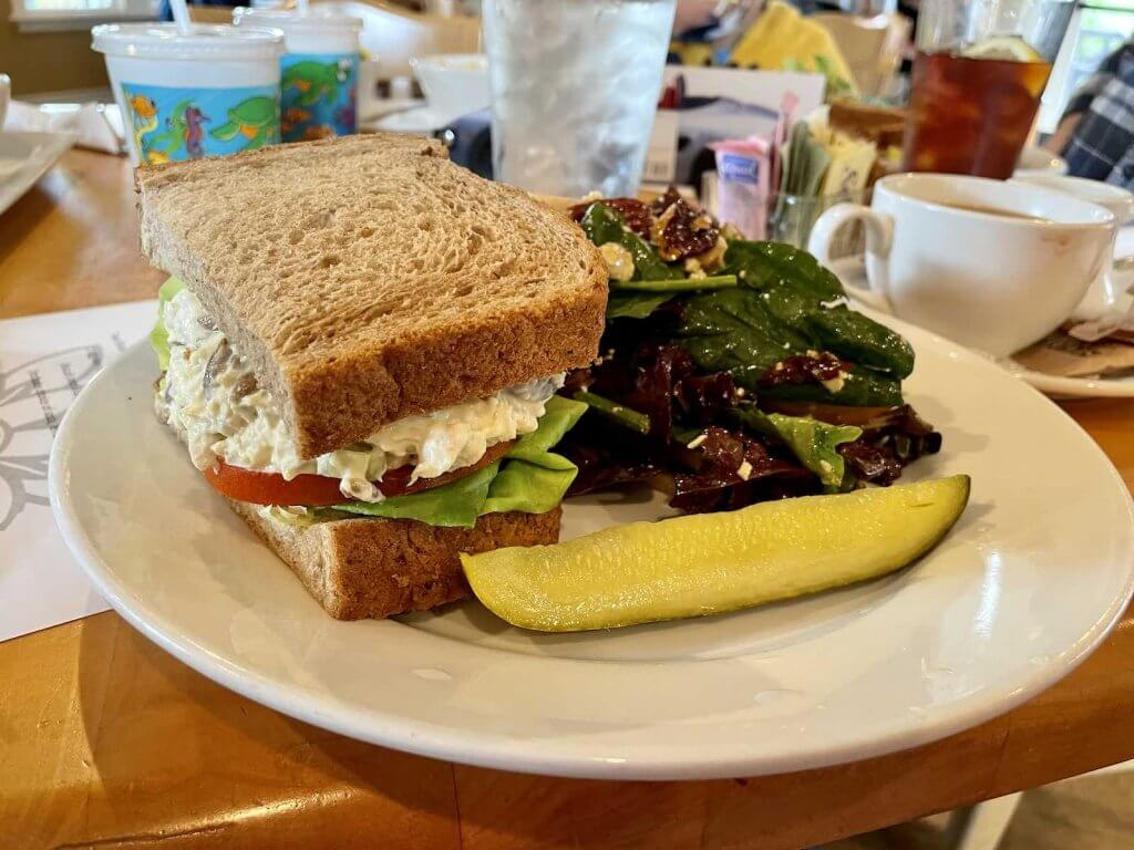 The Windmill Bistro is one of the best places to eat in Sumner WA. Image of a chicken salad sandwich with a side salad.