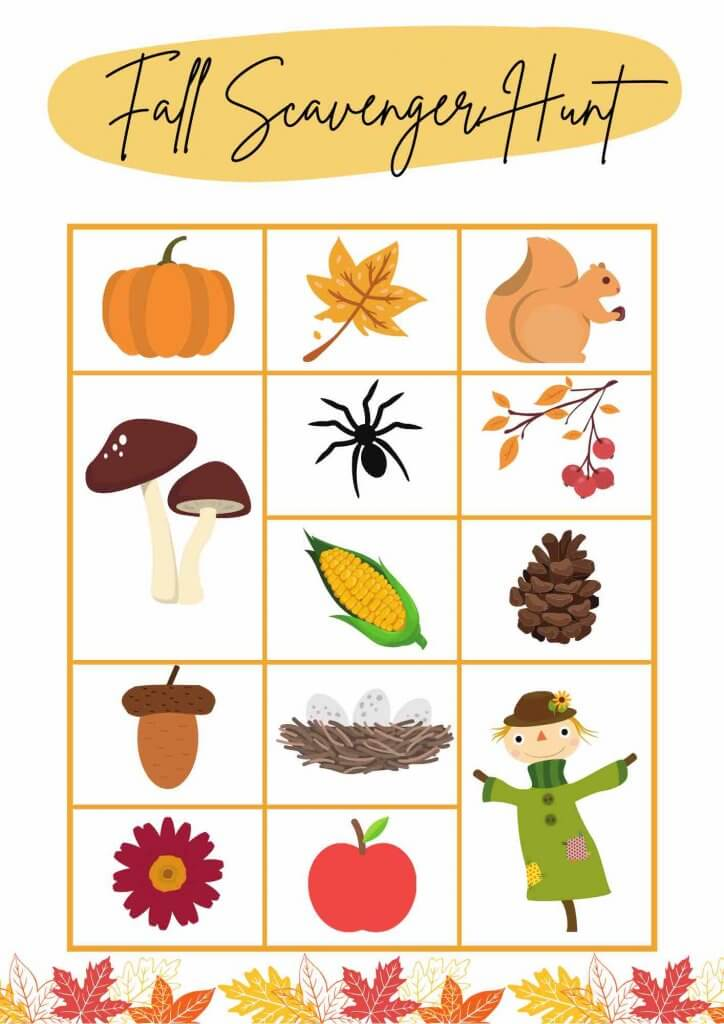 Get this Free Printable Fall Scavenger Hunt by top Seattle blog Marcie in Mommyland. Image of a fall scavenger hunt printable with images of a pumpkin, leave, squirrel, mushrooms, spider, berries, pine cone, corn, acorn, nest, scarecrow, apple, and a flower.