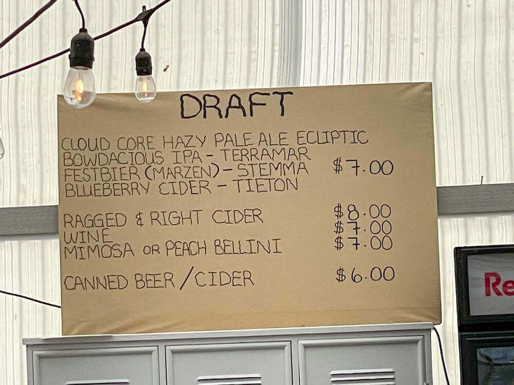 Image of the beer/wine menu at The Harvest at Tulip Town.