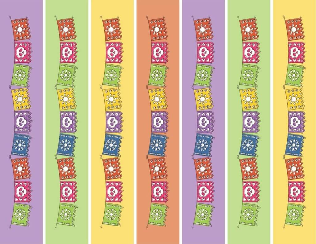 Image of a bunch of colorful Day of the Dead banners to be used as part of a Disney Halloween countdown chain activity for kids.