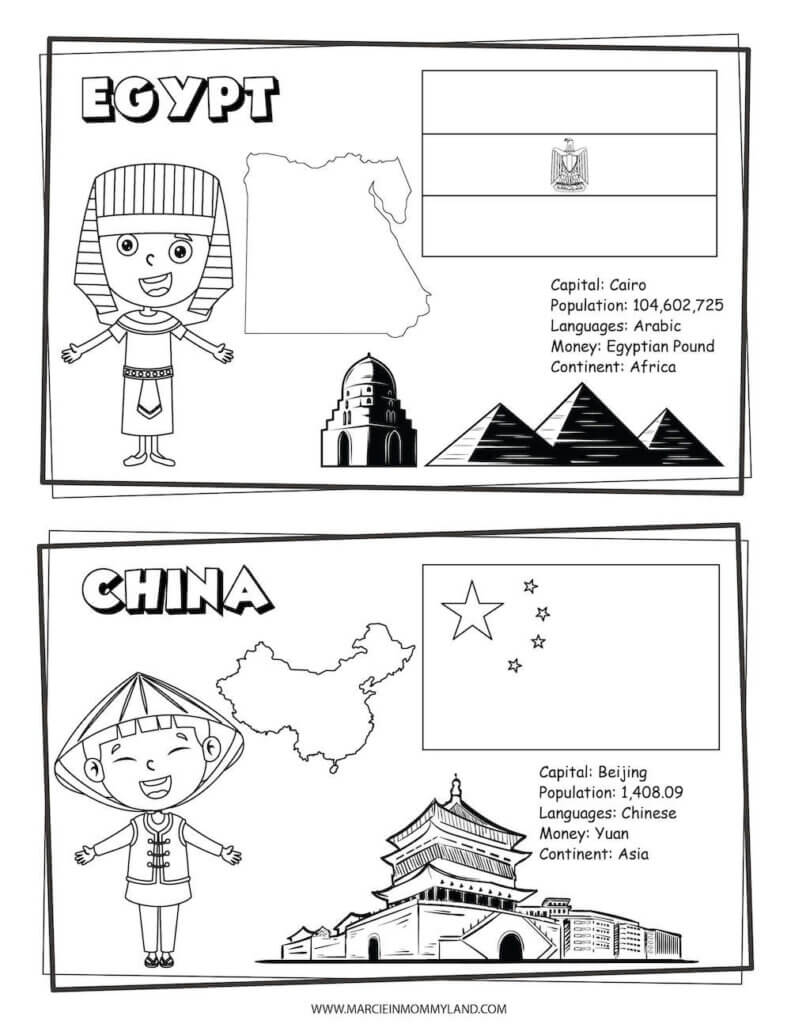 These Printable Coloring Pages of People All Around the World include Egypt and China. Image of a geography coloring sheet with Egypt on top and China on bottom.