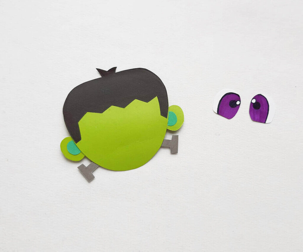 Glue on the bolts to Frankenstein's neck for this Halloween paper craft.