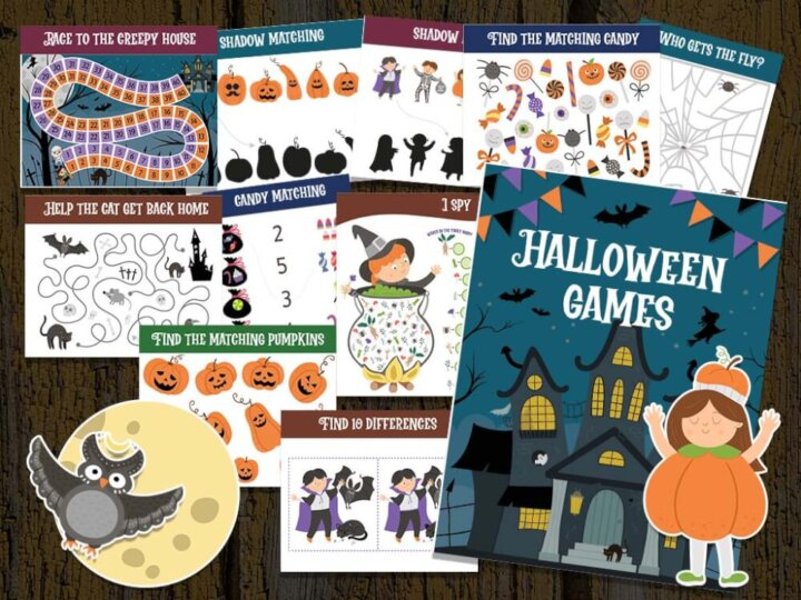 Get the best free printable Halloween activities for kids by top Seattle blog Marcie in Mommyland. Image of a bunch of Halloween activities and games.