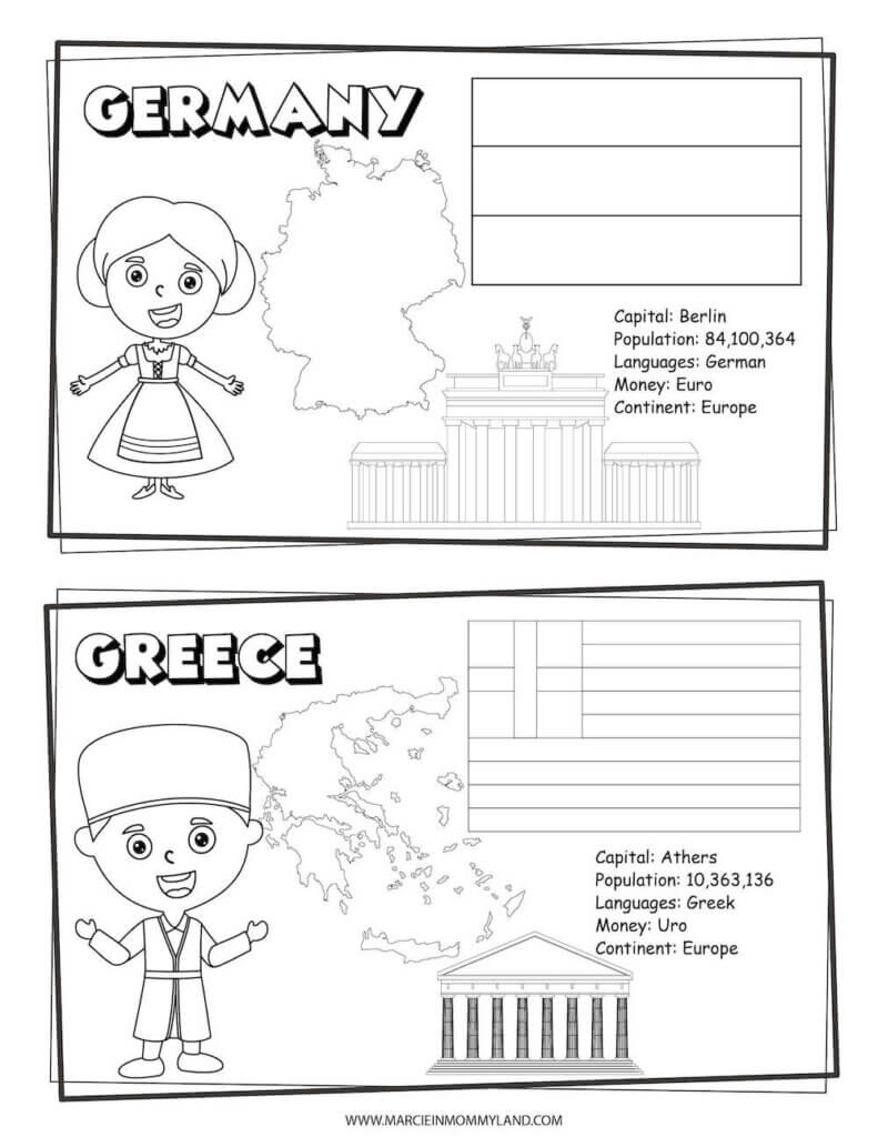 These Countries of the World Coloring Pages include Germany and Greece. Image of a geography coloring sheet with Germany on top and Greece on bottom.