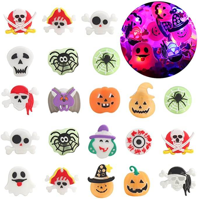 For a healthy Halloween goody, give out these glowing Halloween rings as trick-or-treat candy alternatives.