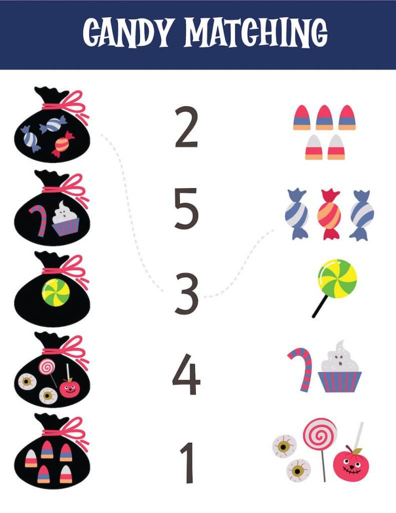 Match the candy to the correct number in this Halloween worksheet for kids.