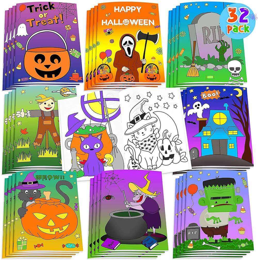 These coloring books are some of the best non-candy Halloween treats recommended by top Seattle blog Marcie in Mommyland. Image of a bunch of mini Halloween coloring books.