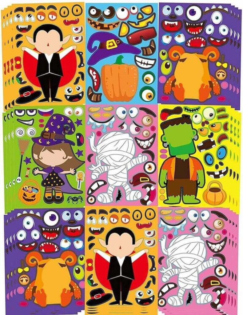 Kids will love these make-your-own stickers for Halloween.