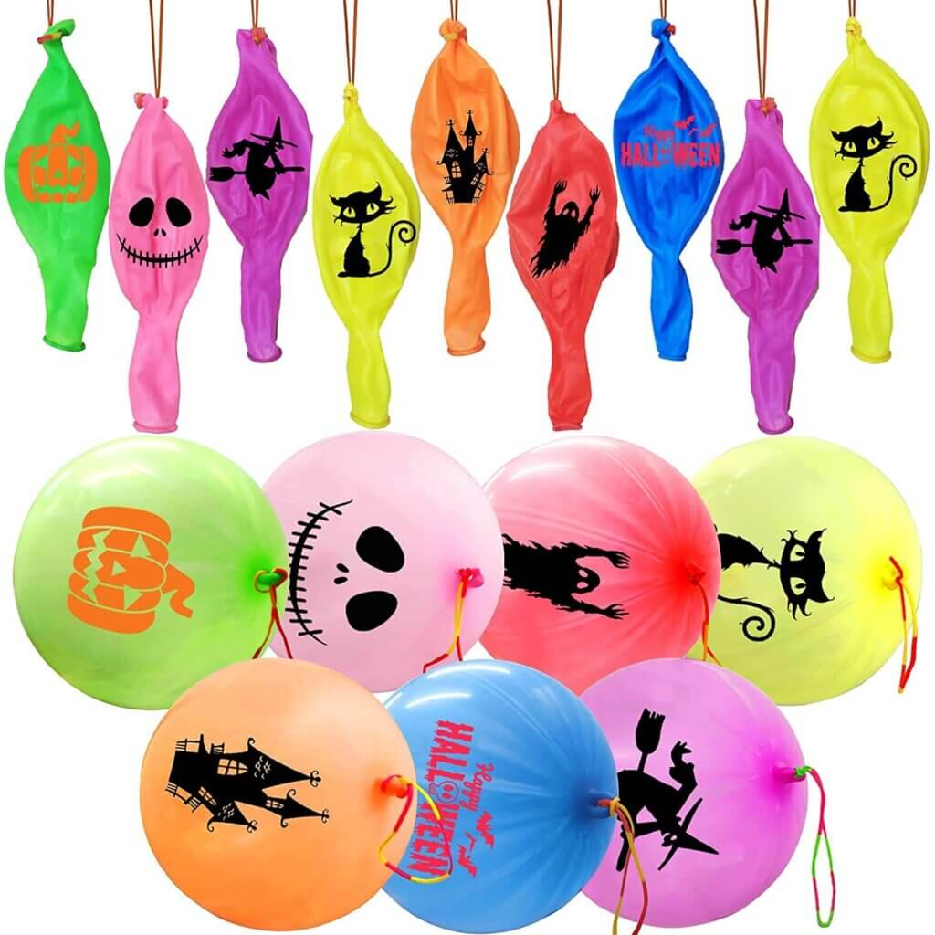 These Halloween punching balloons are super fun Halloween alternatives to candy.