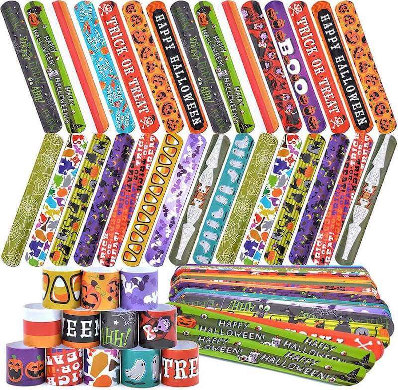 Your kids will love these Halloween slap bracelets in their trick-or-treat bags this year.