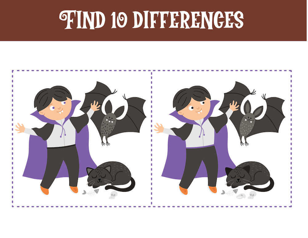 Spot the difference between these two pictures of Dracula and his spooky friends.