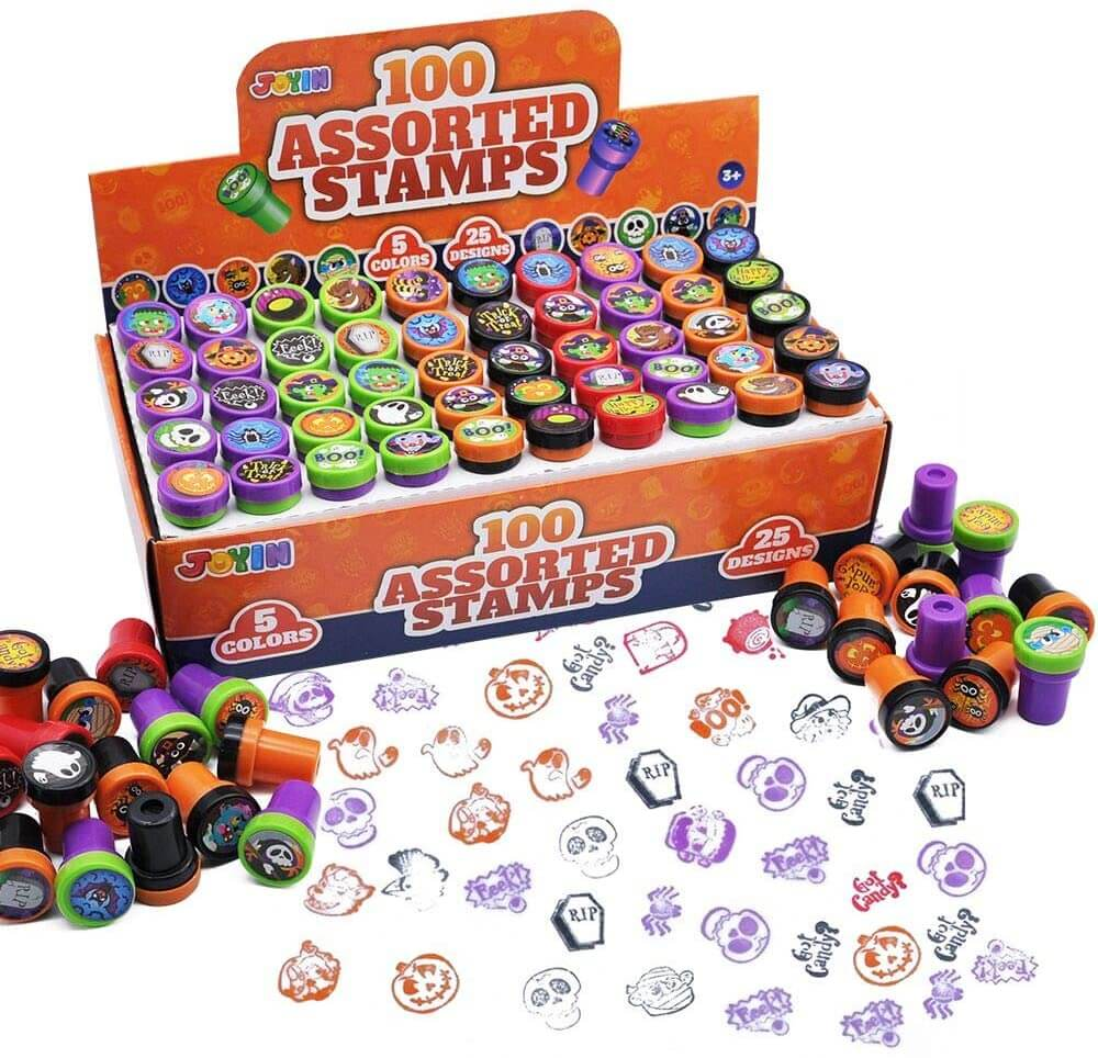 These little stamps make the ultimate non candy Halloween treats for kids this year. Image of a bunch of Halloween stamps.