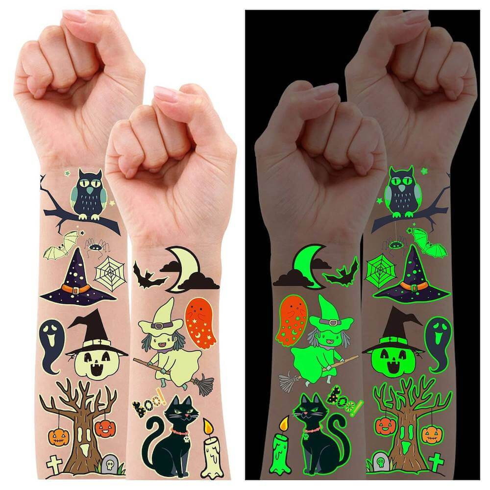 Grab some of these glow-in-the-dark Halloween temporary tattoos to add to your treat basket.
