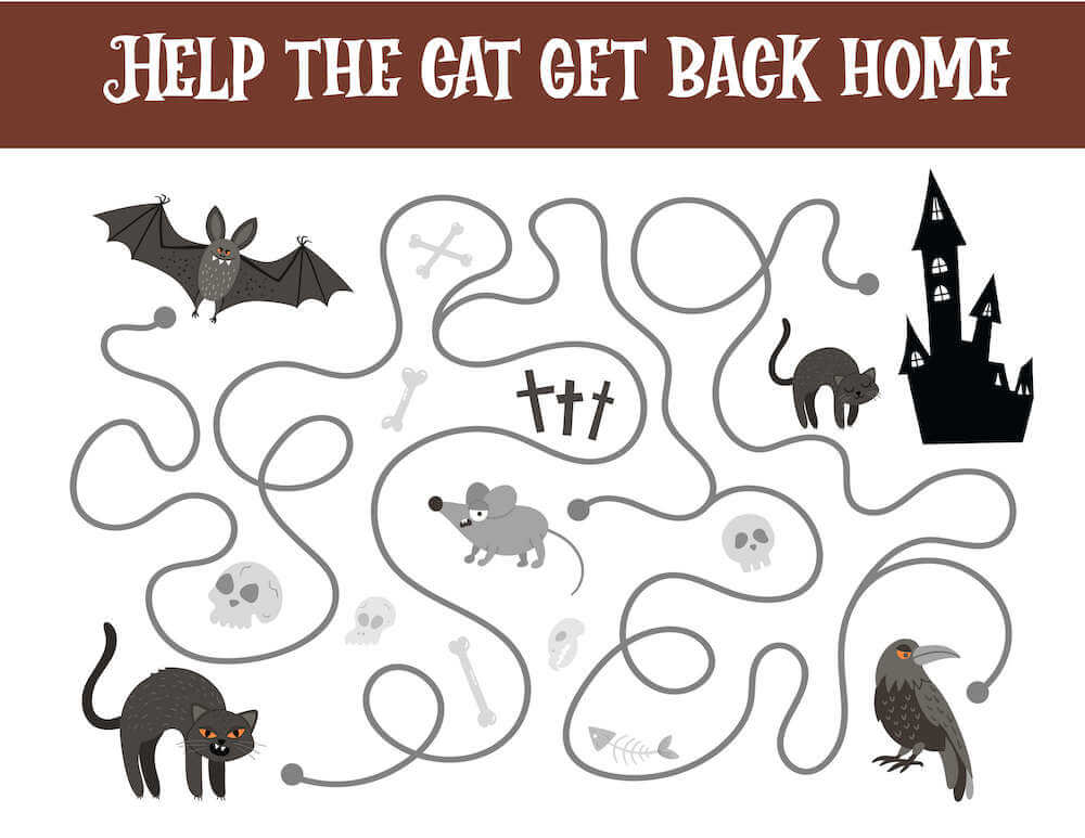 Help the black cat get back home with this Halloween worksheet for kids. Image of a haunted house, raven, rate, black cats, skulls.