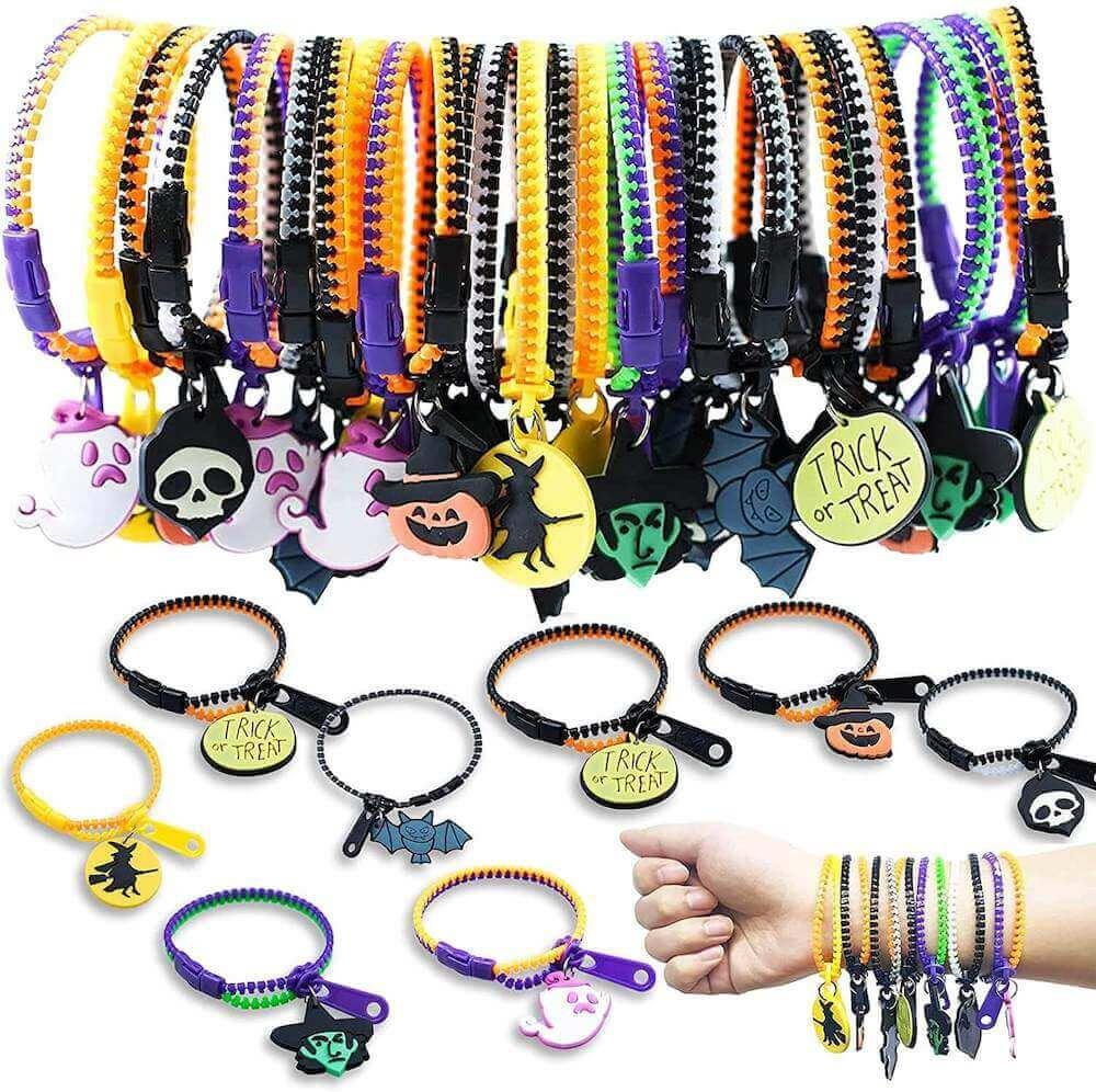 A fun Halloween candy alternative idea are these zipper bracelets. Image of Halloween zipper bracelets for kids.