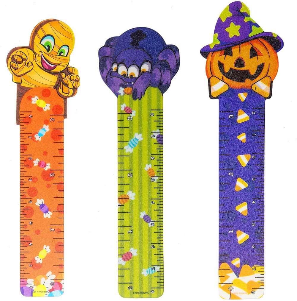These Halloween bookmarks are great non Halloween candy ideas for trick-or-treaters. Image of three Halloween bookmarks.