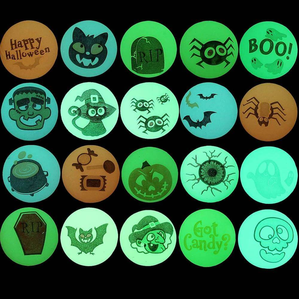 These glow-in-the-dark balls are really fun to pass out to trick-or-treaters.