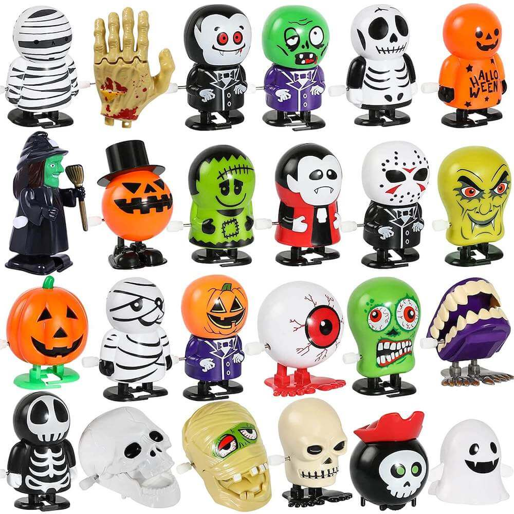 These wind-up toys are the perfect Halloween non candy treats. Image of Halloween wind-up toys.