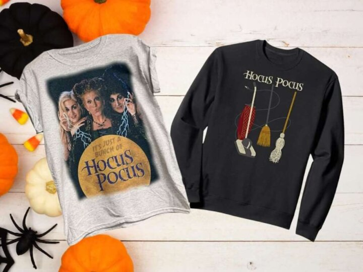 Find out the cutest Hocus Pocus apparel recommended by top Seattle blog Marcie in Mommyland. Image of a Hocus Pocus shirt and Hocus Pocus Sweatshirt.