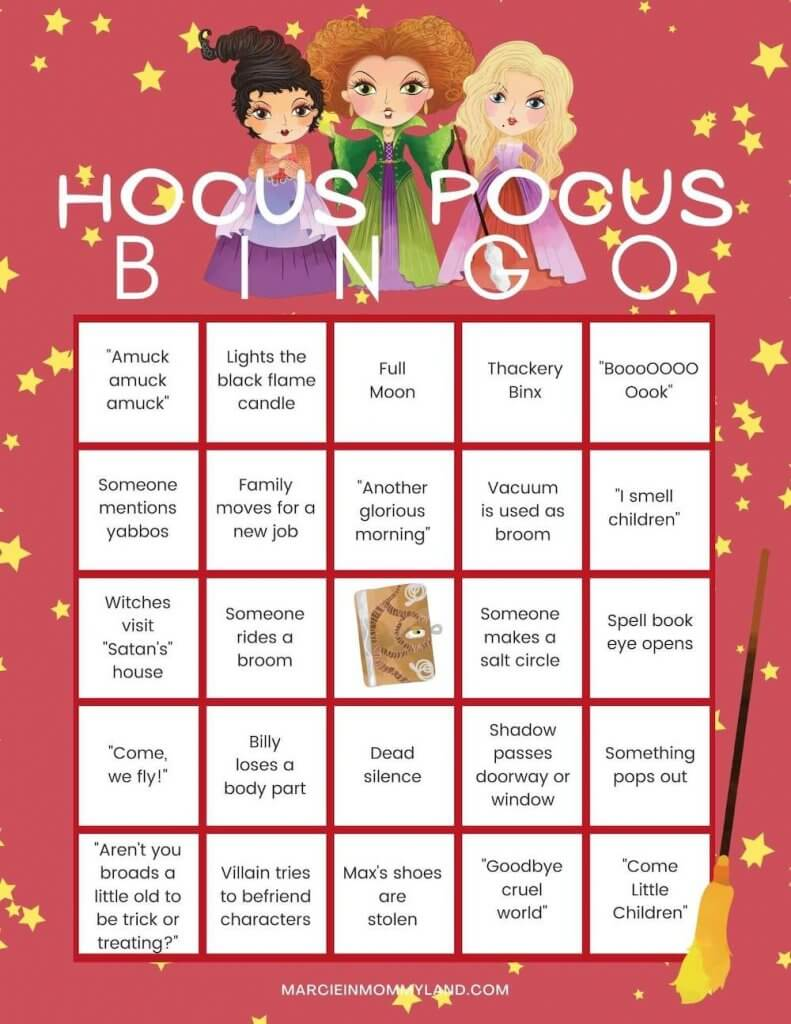 Hocus Pocus Halloween bingo free printable game by top Seattle blog Marcie in Mommyland. Image of a Hocus Pocus bingo game card.
