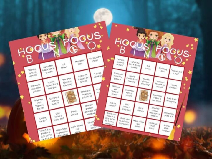 Get this free Disney printable Hocus Pocus bingo game by top Seattle blog Marcie in Mommyland. Image of Hocus Pocus movie bingo cards.