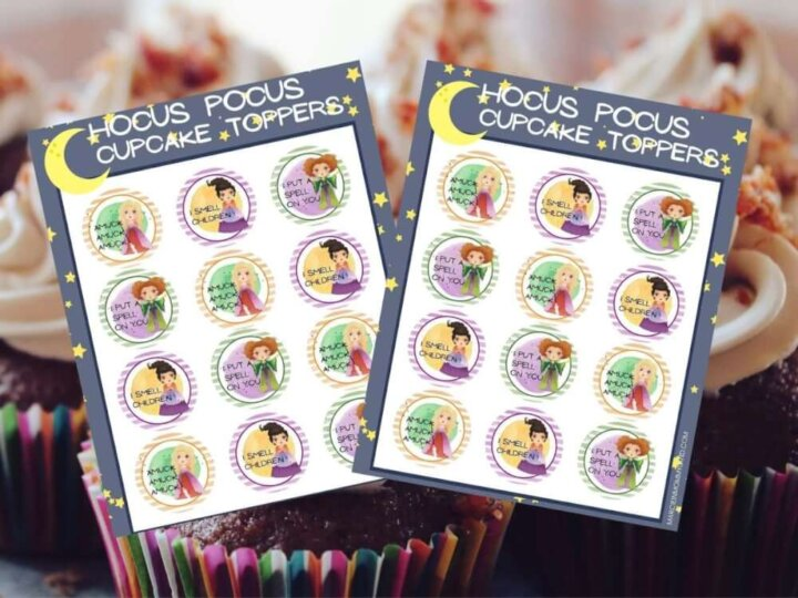 Get these free Hocus Pocus cupcake toppers printable by top Seattle blog Marcie in Mommyland. Image of two pages of printable Hocus Pocus cupcake toppers.