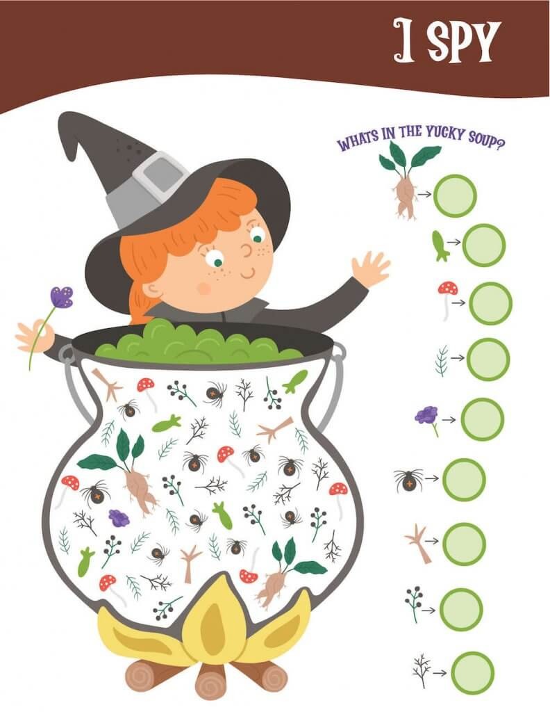 This printable Halloween I Spy game is a lot of fun! Image of a witch with a cauldron full of creepy ingredients like bugs, twigs, and more.