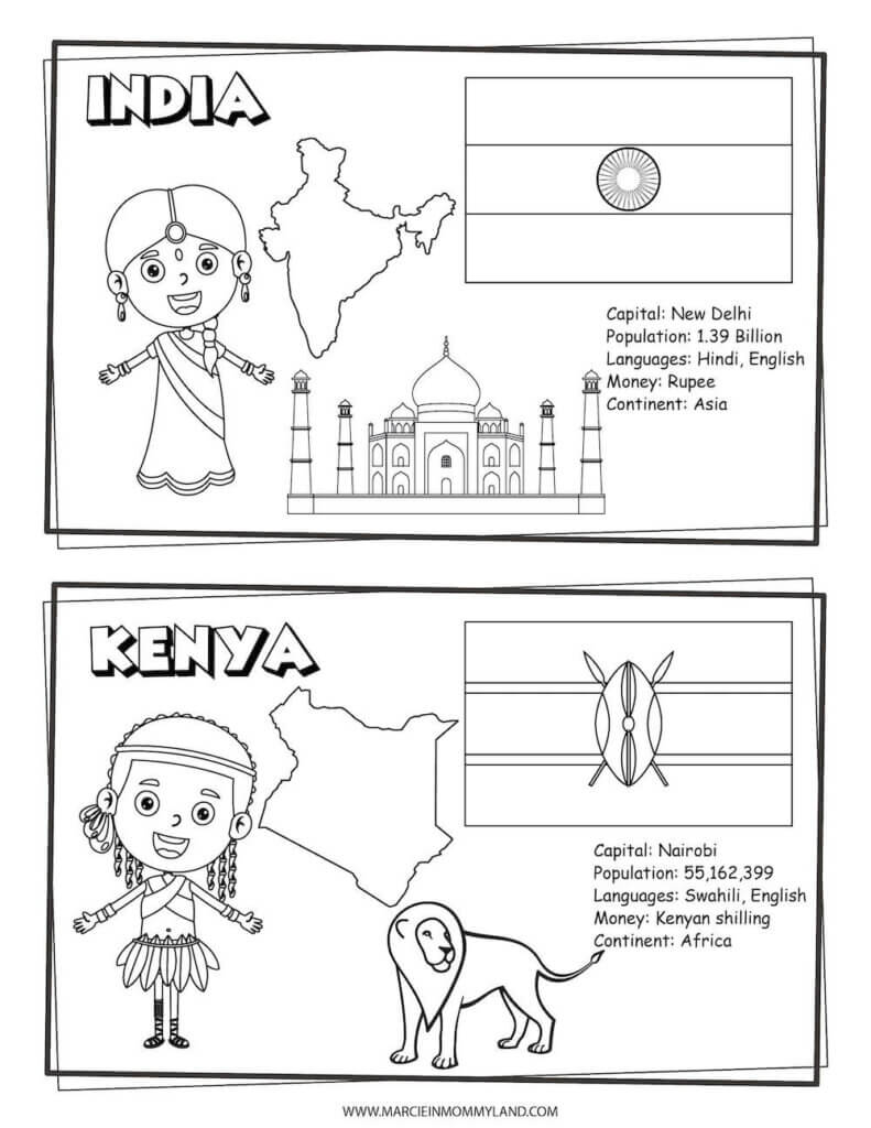 These Printable Coloring Pages of People All Around the World include India and Kenya. Image of geography coloring pages featuring India on the top half and Kenya on the bottom half.