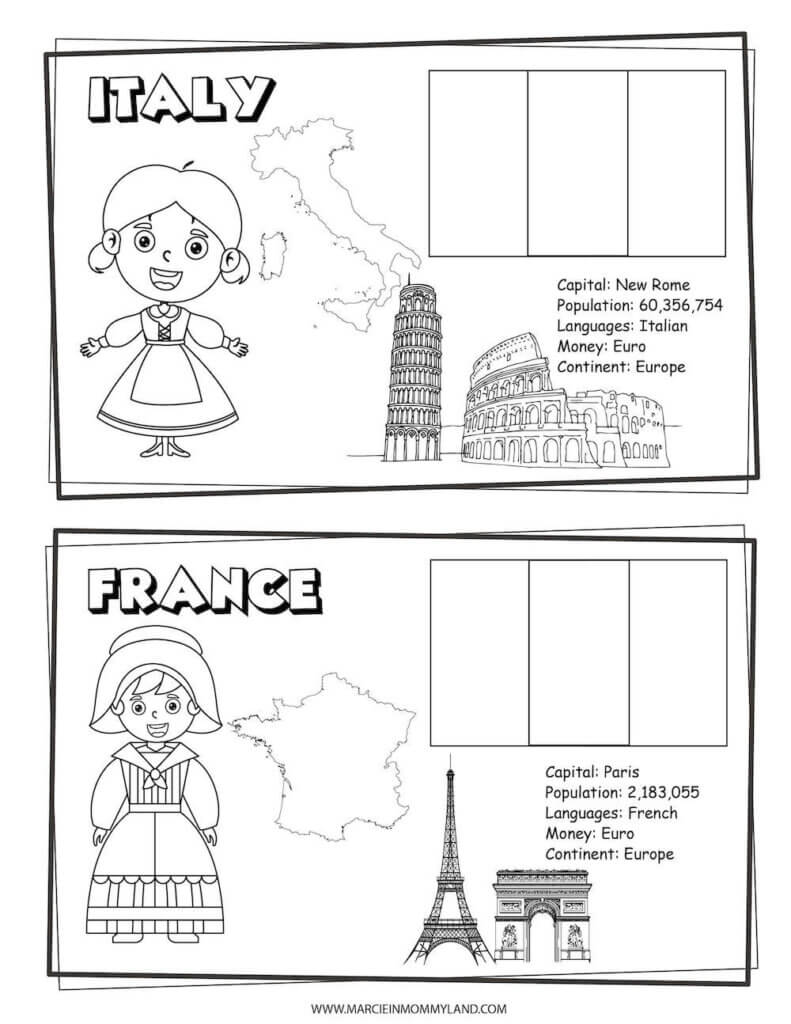 These Countries of the World Coloring Pages include Italy and France. Image of a geography coloring sheet with Italy on top and France on the bottom.