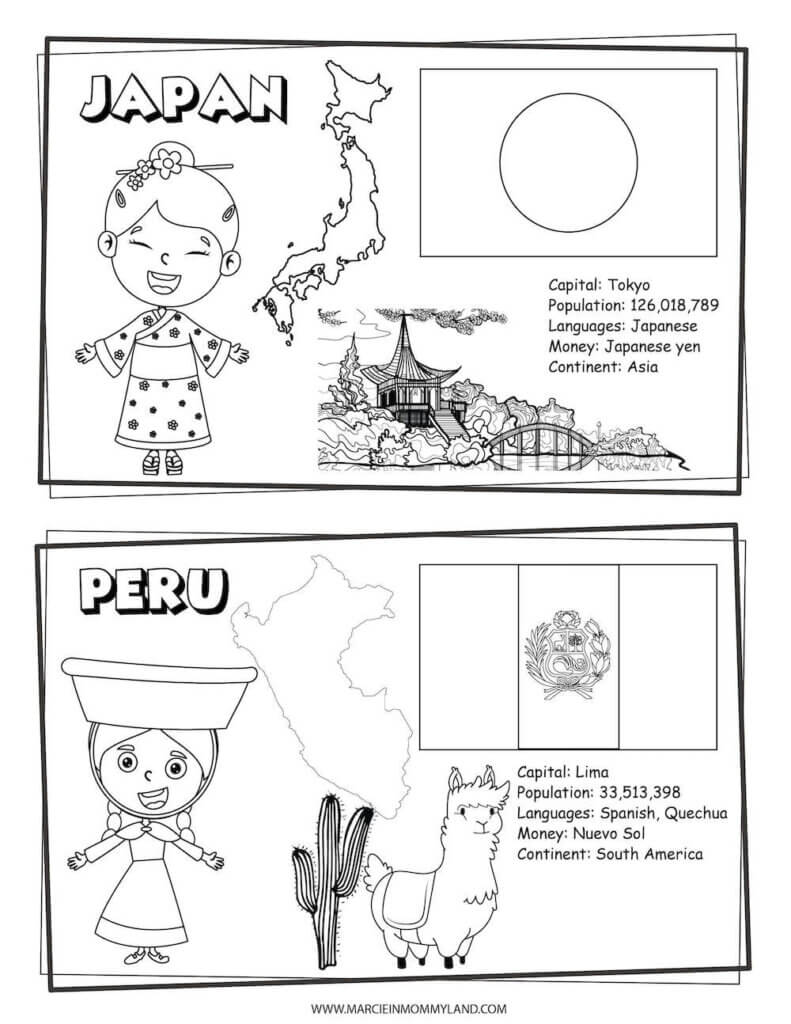 These Printable Coloring Pages of People All Around the World include Japan and Peru. Image of a geography coloring sheet with Japan on top and Peru on bottom.