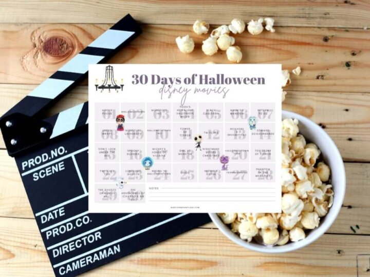 Download this printable list of Disney Halloween movies by top Seattle blog Marcie in Mommyland. Image of a printable calendar featuring Halloween Disney movies.