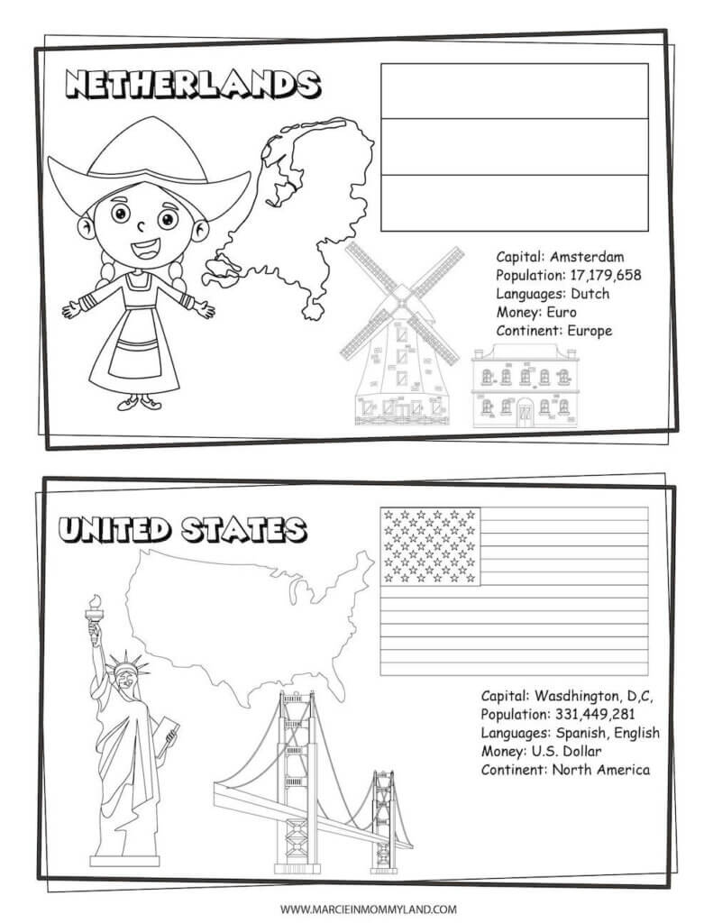 These country coloring sheets include the Netherlands and United States of America. Image of a geography coloring sheet with the Netherlands on top and U.S. on bottom.