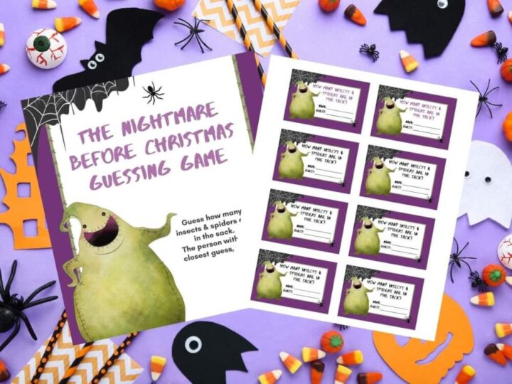 Get this free Nightmare Before Christmas printable game by top Seattle blog Marcie in Mommyland. Image of an Oogie Boogie guessing game from the Nightmare Before Christmas movie.