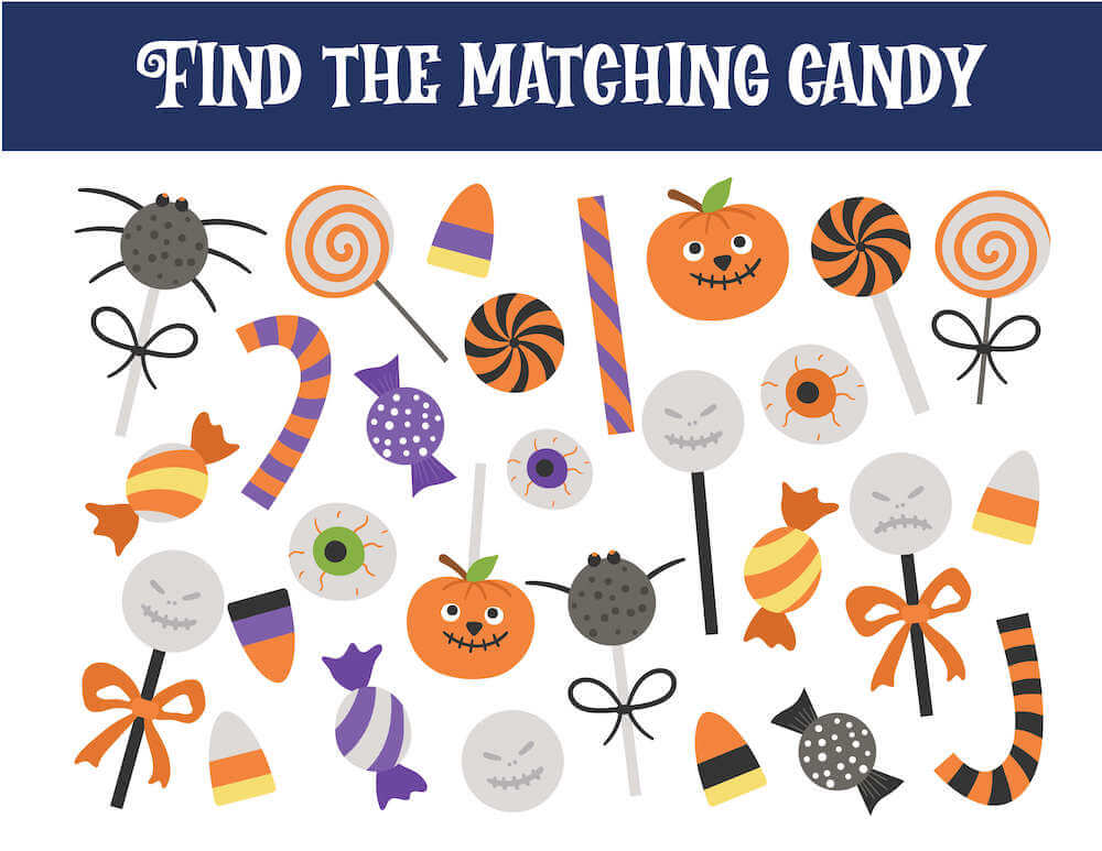This Halloween worksheet is all about finding the matching candy. Image of a bunch of colorful Halloween candy.