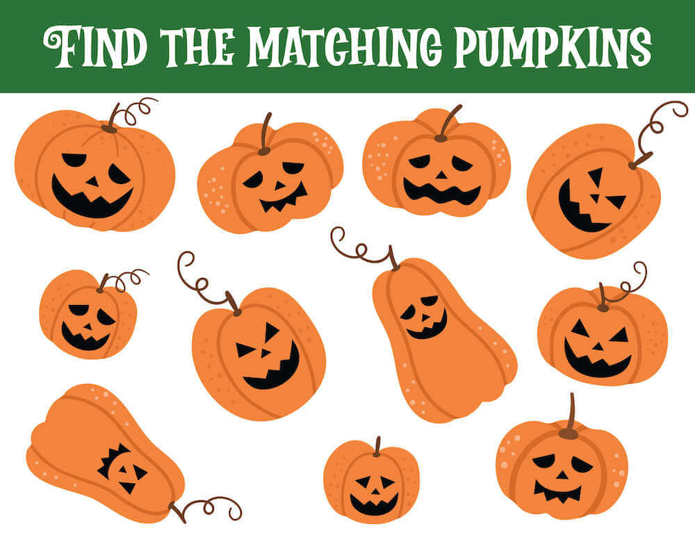 One of the best Printable Halloween Activities for Kids is this Find the Matching Pumpkins worksheet. Image of a bunch of orange jack o lanterns.