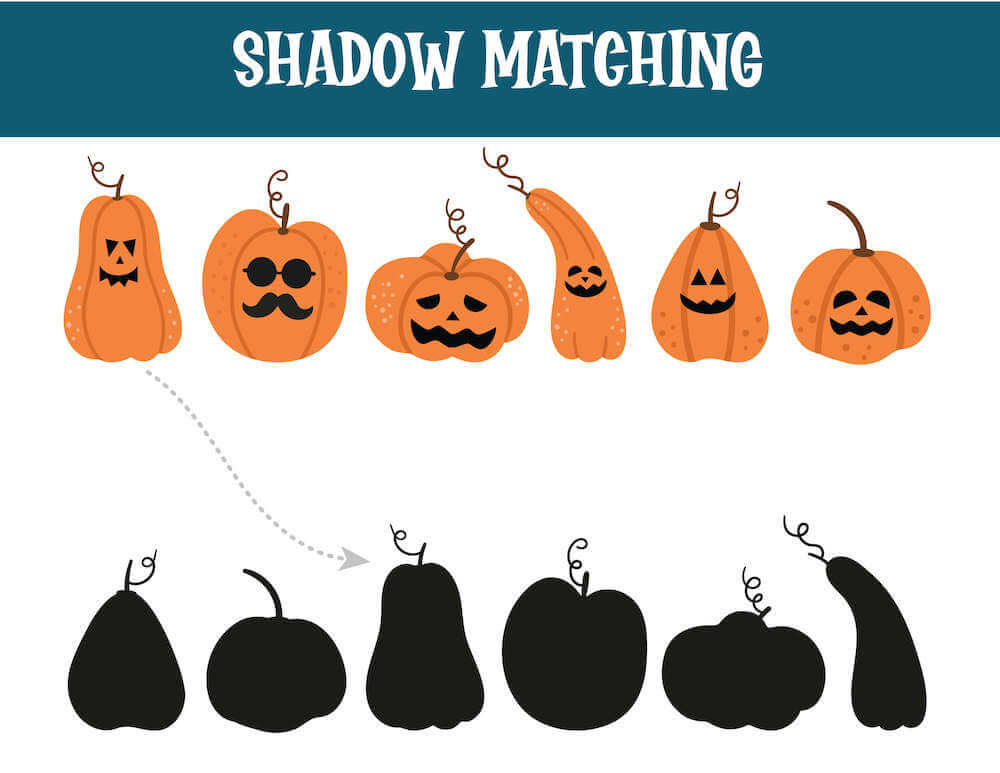 Find the correct shadow that matches each pumpkin in this Halloween matching game. Image of a bunch of orange pumpkins.