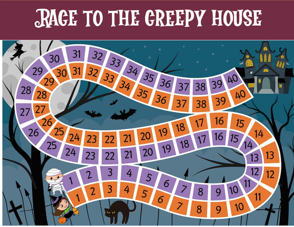 Another great Printable Halloween Activity for Kids is this Race to the Creepy House Halloween game. Image of a spooky house with a mummy and witch.