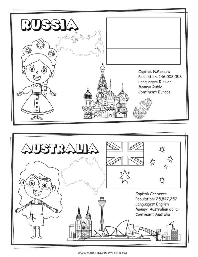 These Printable Coloring Pages of People All Around the World include Russia and Australia. Image of a geography coloring sheet with Russia on top and Australia on bottom.