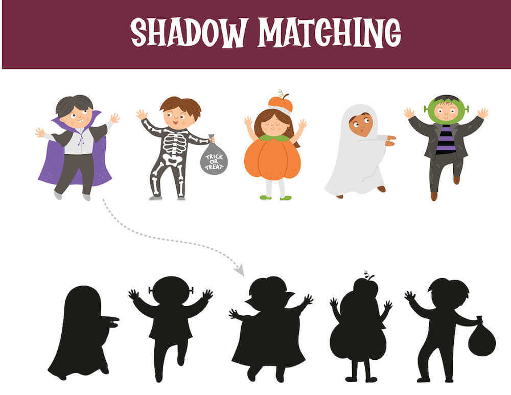 Find the matching shadow that fits the different costumed kids. Image of kids dressed as Dracula, a skeleton, a pumpkin, a ghost, and Frankenstein.