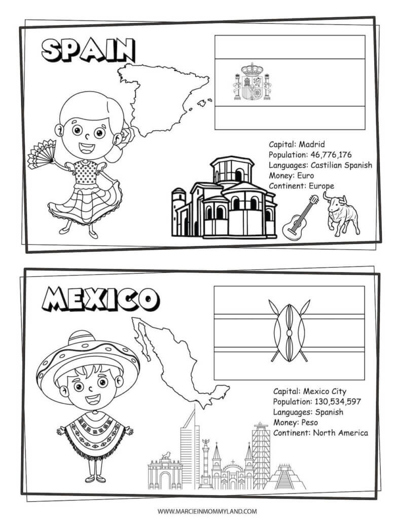 These multicultural coloring pages include Spain and Mexico. Image of a geography coloring sheet with Spain on top and Mexico on bottom.