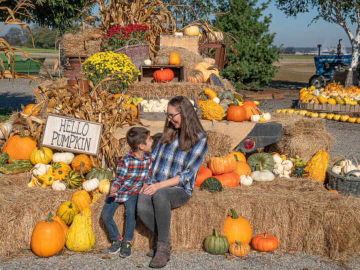 Read this review of The Harvest at Tulip Town by top Seattle blog Marcie in Mommyland. Image of a mom and boy wearing plaid at a Washington State pumpkin patch.