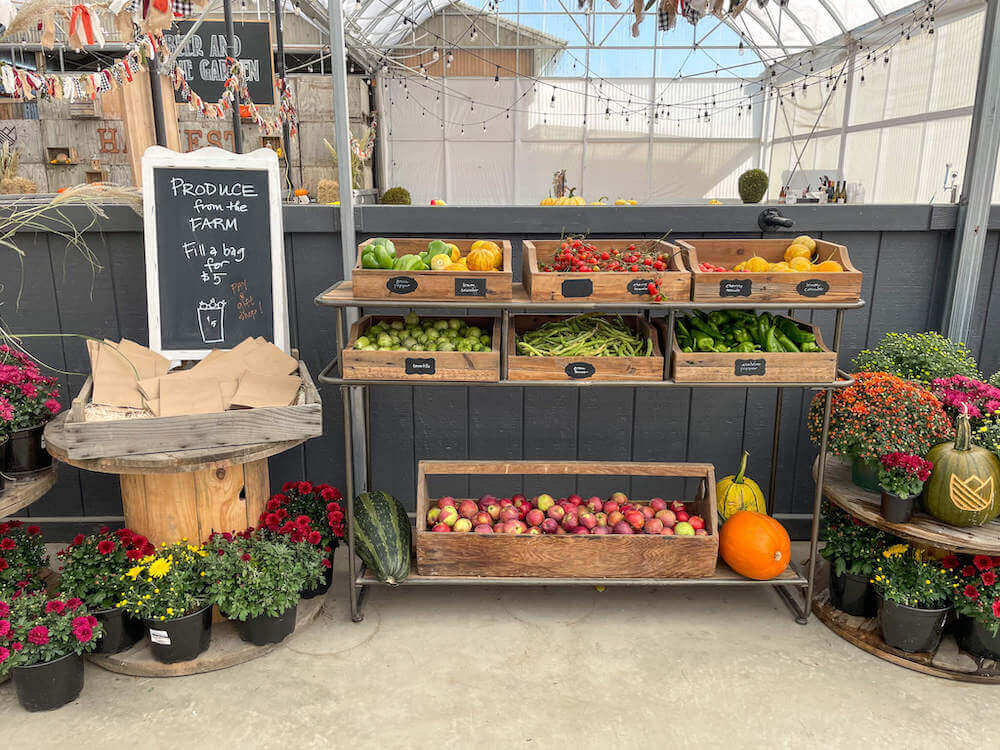 Image of farm fresh produce for sale at Tulip Town in Skagit Valley.