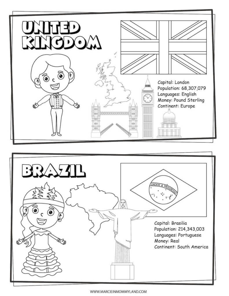 This multicultural coloring page features the United Kingdom on top and Brazil on the bottom.