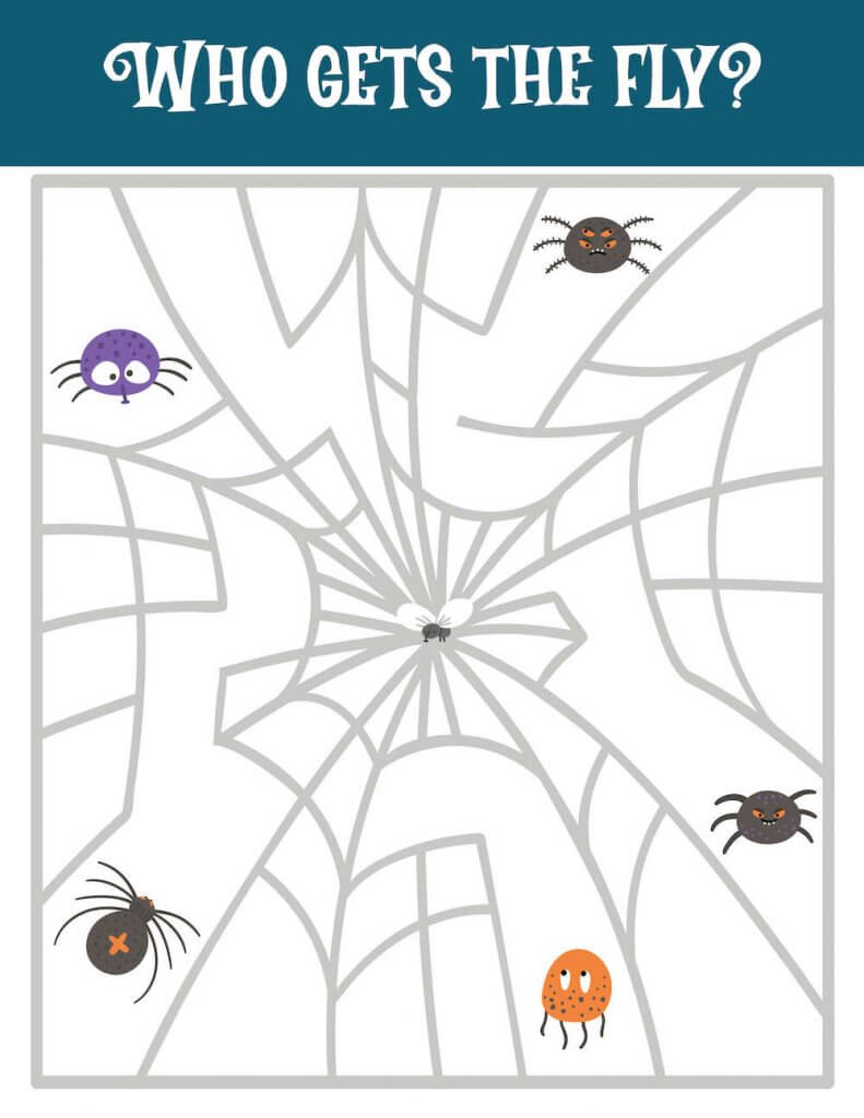 You'll love these Printable Halloween Activities for Kids, including this spider tracing activity. Image of colorful spiders and a web with a fly in the middle.