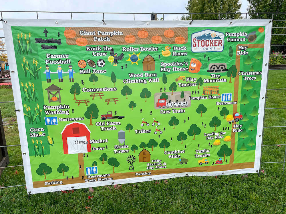 Image of a map of the activities at Stocker Farms pumpkin patch.