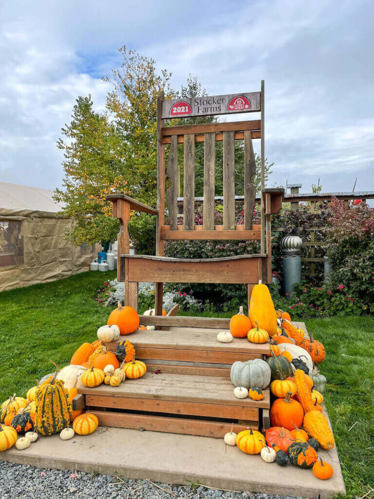 Image of a huge wooden chair decorated with pumpkins.